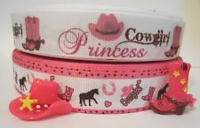 GROSGRAIN COWGIRL PRINCESS RIBBON PLUS FLAT BACK RESINS CABOCHONS