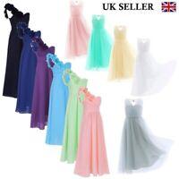 UK Girls Flower Party Chiffon Dress Child Princess Bridesmaid Wedding Prom Gown