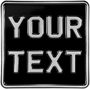 6.5x6.5 novelty black and silver Kids motorcycle pressed number plate text metal