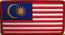 MALAYSIA Flag Military Patch With VELCRO® Brand Fastener Red Border #9