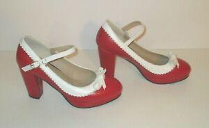 Womens Vintage Rockabilly Shoes Mary Jane Chunky High Heels Platform Pumps w Bow