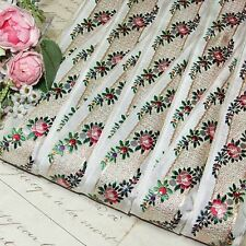 1y VTG ANTIQUE FRENCH WOVEN JACQUARD WHITE w/RED PINK ROSES COTTAGE CHIC BOUDOIR