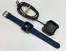 Fitbit Versa (FB505) Special Edition, Silver Aluminum Finish with Blue Band