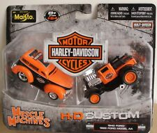 1/64 Maisto Muscle Machines H-D Harley Davidson 2 pk -1940 Ford & 1929  Model AA