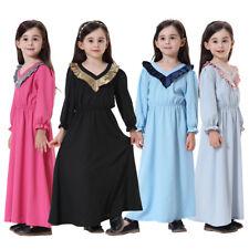 Muslim Arab Kids Girls Long Sleeve Maxi Dress Abaya Kaftan Robes Summer Clothes