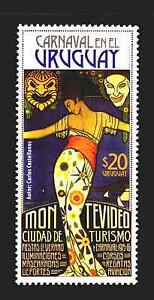 2016 ART DECO WOMAN SUN MOON MASK MUSIC CARNIVAL GRAPHIC ART URUGUAY #2543 MNH