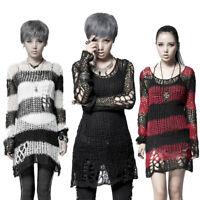 Casual Gothic Hole Sweater Visual Kei Cut Black Steampunk coat punk Shirt Top