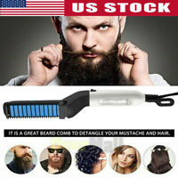Electric Quick Heated Beard Straightener Brush Hair Comb Curling Show Cap HOT.US