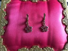 Betsey Johnson Iconic Ombre Rose Pink Crystal Paved Tiny Flower Earrings RARE