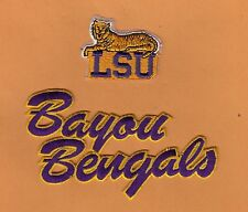 2 LSU TIGERS BAYOU BENGALS IRON ON FULLY STITCHED PATCHES JACKET JERSEY BAGS NEW