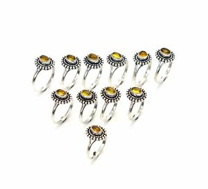 WHOLESALE 11PC 925 SILVER PLATED YELLOW TOURMALINE RING LOT 1 a901