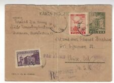 1947 Warsaw Poland Uprated Airmail Registered 3Zt Postal Card to Chico Ca