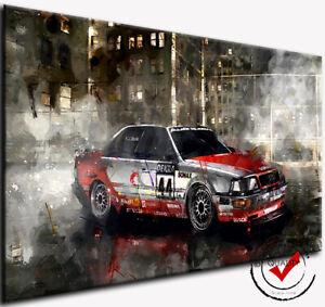 Audi V8 quattro DTM Auto Sport Bild Rennwagen Leinwand Wandbild Kunstdruck Deko
