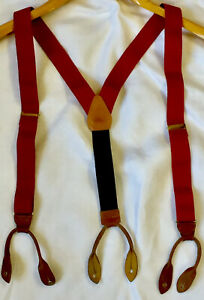 COLE HAAN Suspenders Red Blue Tan Leather Brass Braces Stretchy Patriotic.