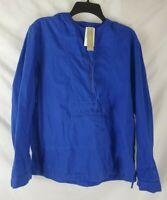 J. Crew Women's Blue Shrunken Anorak Jacket Size Medium Hooded Long Sleeves New