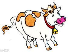"5""  Barney on a farm animal cow  fabric applique iron on character"
