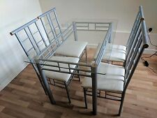 Ikea Tempered Glass Table & 4 Matching Chair Set Chrome Wood Kitchen Diner