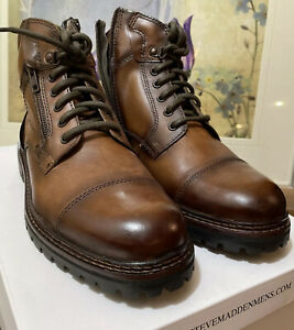 Steve Madden Men's SAYLORR Combat Boot, Cognac Leather, 10 D US