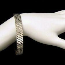 Vintage Large Silvertone Bangle Bracelet Scored Etched Diamond Cut Pretty Design