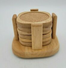 New listing Set of 6 Wood and Cork Costers with Holder