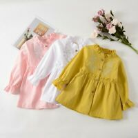 Toddler Baby kId Gir Dress Long Sleeve Casual Solid Ruched Floral Dress Clothes