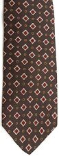 "Lord & Taylor Men's Silk Tie 59.5"" X 3.25"" Brown w/ multi-color Geometric"