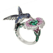 925 Silver Filled Bird Flower Animal Emerald Rings Wedding Engagement Cocktail