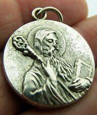 """Needzo PLC MENS Antiqued Rare Silver Gild Round Medal Of Saint St Benedict 1"""""""