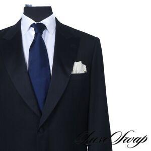 #1 MENSWEAR Brioni Made in Italy Spartaco Black Satin Peak Lapel Tuxedo Suit 44
