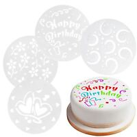 Set Of 4 Cake Decorating Stencils 15cm Happy Birthday Hearts Flowers Home Baking