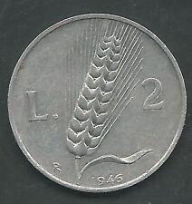 ITALY, 1946,  2 LIRA,  KM#88, CHOICE EXTRA FINE,  123,000 MINTED, SCARCE DATE