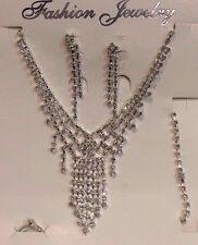 White Crystal Rhinestone Silver Bridal Necklace,  Earring ,Ring and Bracelet Set
