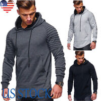 Men's Hooded Warm Jacket Adult Autumn Casual Pullover Long Pleated Sleeve Hoodie