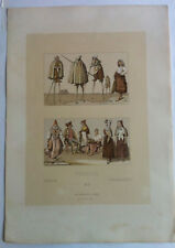 Costumes Echasses MOYEN AGE Chromolithographie originale RACINET 1888