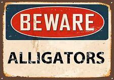 """""""attenzione alligatori"""" METAL SIGN, Smalto, Vintage, n. 502"""