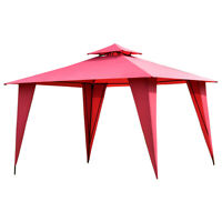 2-Tier 11'x11' Gazebo Canopy Shelter Patio Party Tent Outdoor Awning Burgundy