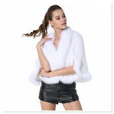 Real Mink Fur Knitted Cape with Fox Fur Collar Wedding Cocktail Stole by LUXOR