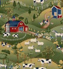 Heartland Fabric - Farm & Country Barn Field Scene Green - Studio E YARD