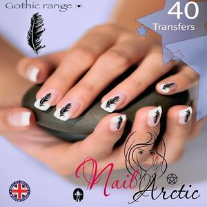 40 x Nail Art Water Transfers Stickers Wraps Decals Gothic Crow Feather