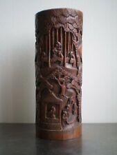 BAMBOU SCULPTE ANCIEN ART ASIE DECOR CHINE PERSONNAGE 19°s DECO ORIENTALE
