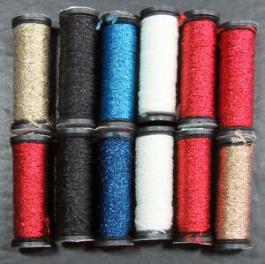 12x Needlepoint/Embroidery THREAD KREINIK 8 Braid metallic-mixed-XW106