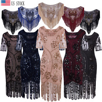 Vintage 1920s Beaded Flapper Gatsby Cocktail Dress Wedding Formal Party Dresses