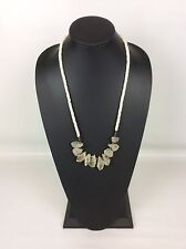 Chunky Natural Crystal White Glass Bead Necklace 28 Inch Earthy Boho Hippie