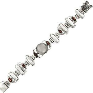 MOTHER OF PEARL SHELL RED GARNET BIWA 925 STERLING SILVER bracelet