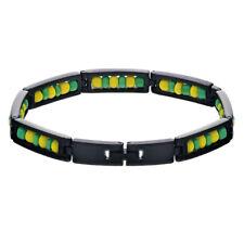 "Black Stainless Steel Link Wristband Ilde de Orula Bracelet Babalawo Santeria 8"""