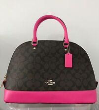 NWT COACH Sierra Signature Black Brown Satchel Crossbody Handbag F58287 Fuchsia