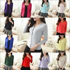 Women Long Sleeve Solid Knit Cardigan Front Button Down Sweater Outwear Blouse**