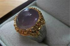 LARGE OVAL LAVENDER MAUVE CHALCEDONY 925 STERLING SILVER GOLD DOME RING SZ P 8