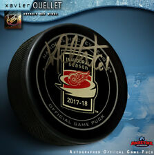 Xavier Ouellet signed Detroit Red Wings Inaugural Season LCA Official Game Puck