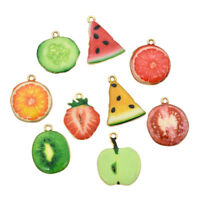 10 Pcs Enamel Fruit Pendants Charms For DIY Necklace Jewelry Making Hand Craft